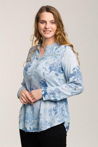 Bluza bleu ciel cu imprimeu floral