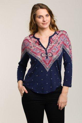Bluza bleumarin din bumbac cu imprimeu