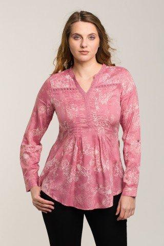 Bluza roz-grenadin cu imprimeu floral