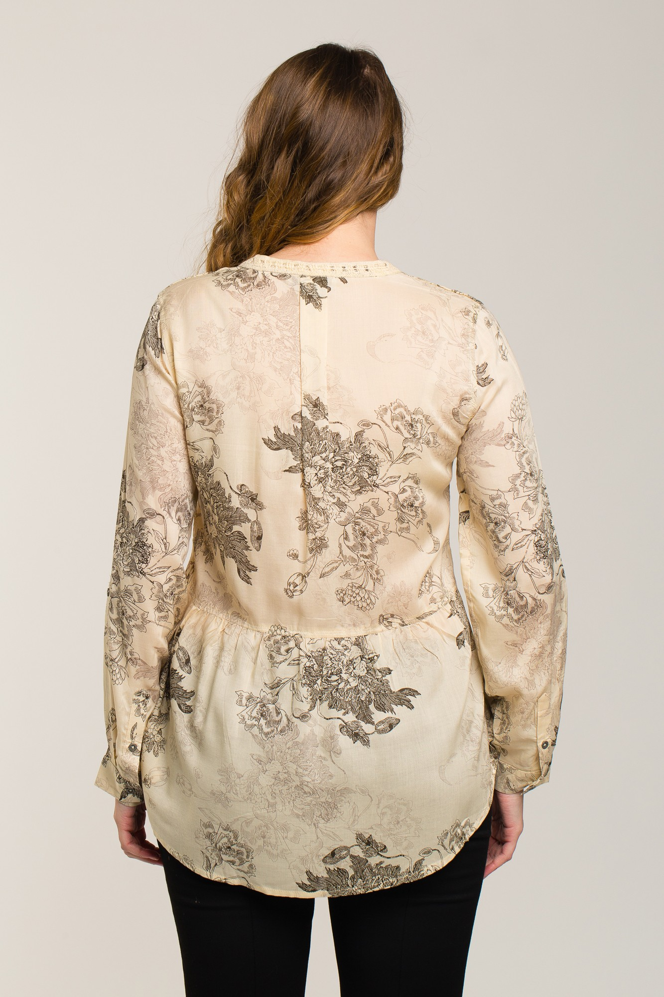 Bluza crem fildes cu imprimeu floral