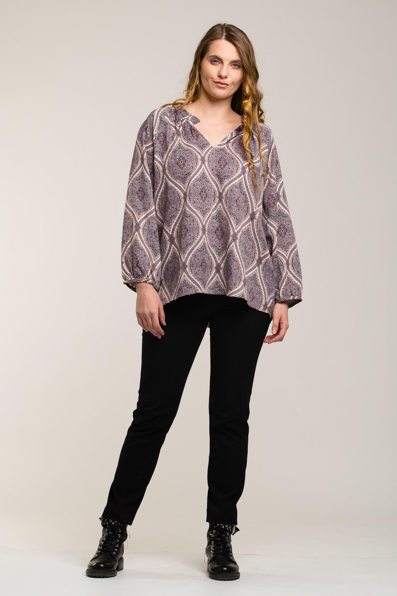 Bluza imprimeu paisley  crem oversize