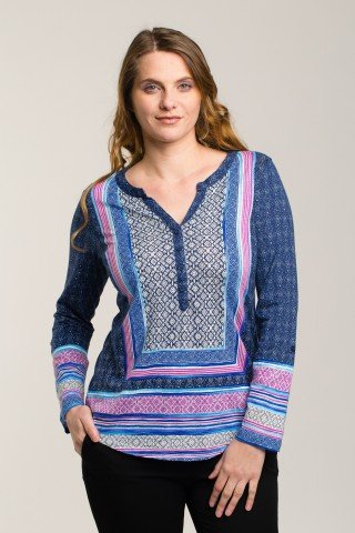 Bluza albastra cu imprimeu contrastant geometric