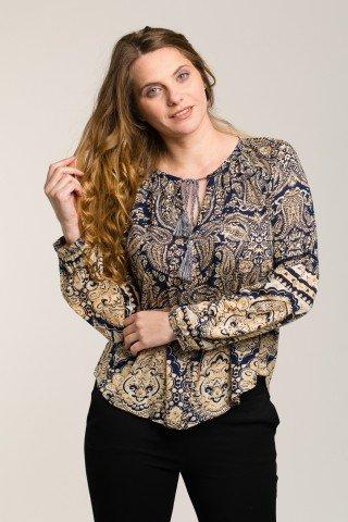 Bluza bleumarin cu imprimeu paisley beige-crem
