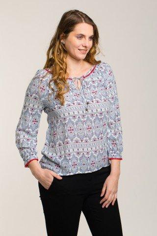 Bluza alba cu imprimeu bleumarin si rosu