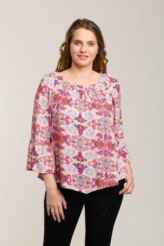Bluza roz pal cu imprimeu contrastant