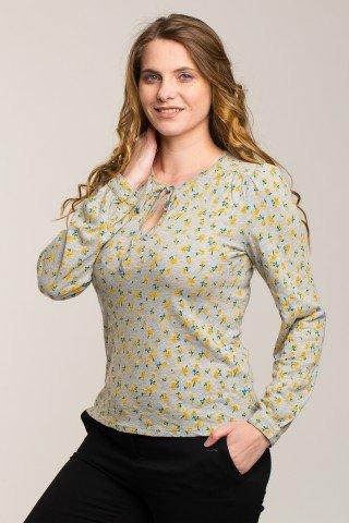 Bluza gri cu floricele galbene