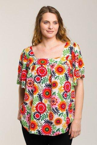 Bluza cu imprimeu floral multicolor si maneci scurte