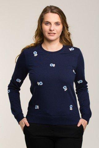 Bluza sport bleumarin cu broderie florala