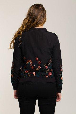 Jacheta bomber neagra cu broderie florala
