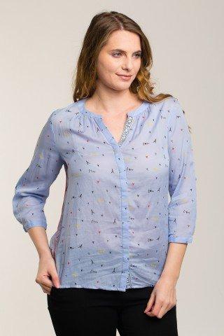 Bluza bleu cu imprimeu multicolor Paris
