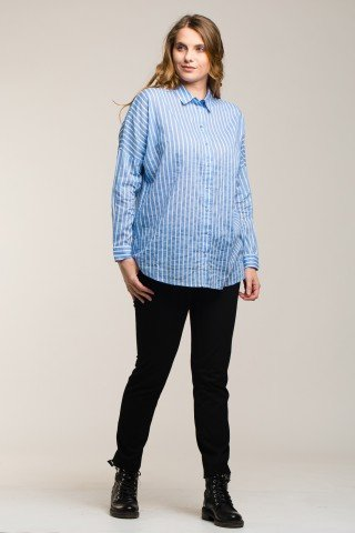 Camasa versatila din bumbac bleu cu dungi albe