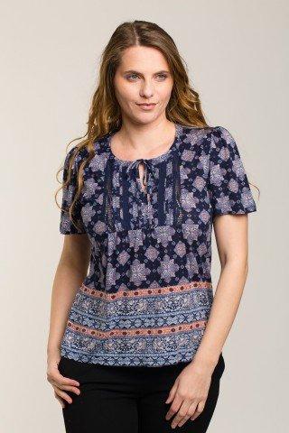 Bluza bleumarin cu imprimeu etnic si insertii dantela