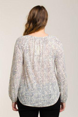 Bluza fina cu imprimeu floral si decolteu cu snur