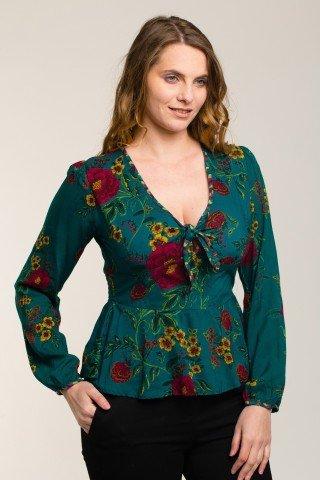 Bluza vascoza verde cu decolteu adanc si imprimeu floral