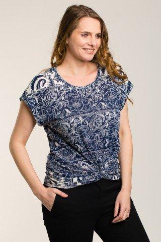 Bluza bleumarin cu imprimeu si nod decorativ