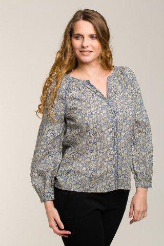 Bluza eleganta cu imprimeu floral si maneci bufante