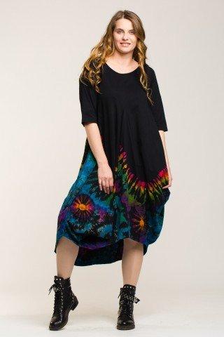 Rochie balon neagra midi cu imprimeu tie-dye multicolor