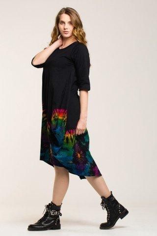 Rochie balon neagra midi cu imprimeu tie-dye curcubeu multicolor