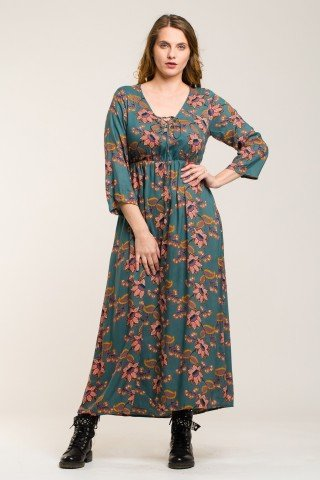 Rochie boho-chic lunga cu imprimeu floral Angy