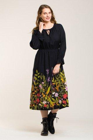Rochie neagra midi din vascoza cu flori multicolore