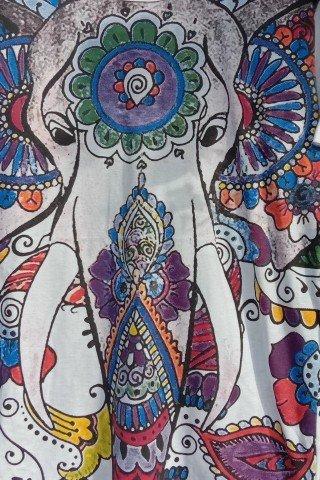 Tricou alb din bumbac cu elefant multicolor Mirror