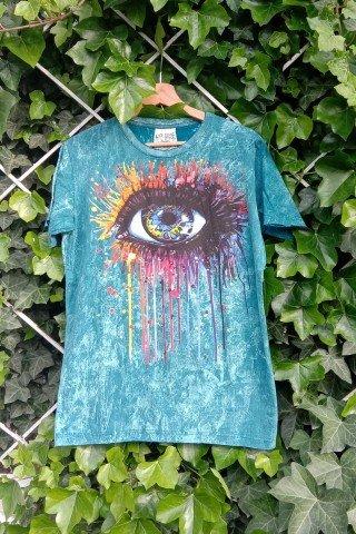 Tricou bumbac albastru Eye Art
