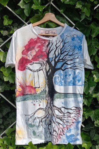 Tricou din bumbac Tree of Life in oglinda