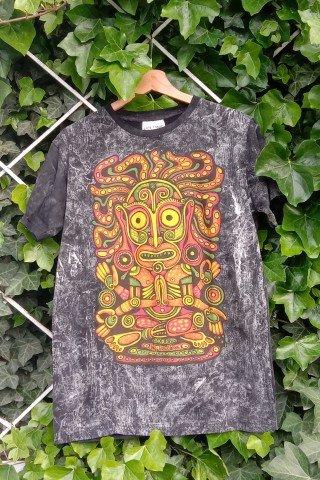 Tricou din bumbac negru stonewashed cu imprimeu