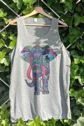 Maiou din bumbac gri cu elefant multicolor