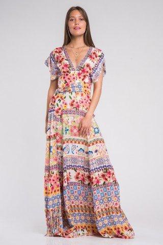 Rochie lunga boho cu imprimeu multicolor si cordon