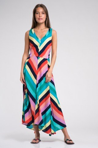 Rochie asimetrica in dungi multicolore cu decolteu v