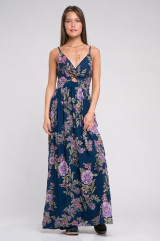 Rochie lunga albastra cu bretele si nod decorativ