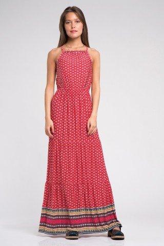 Rochie rosie lunga cu imprimeu etnic si detalii argintii
