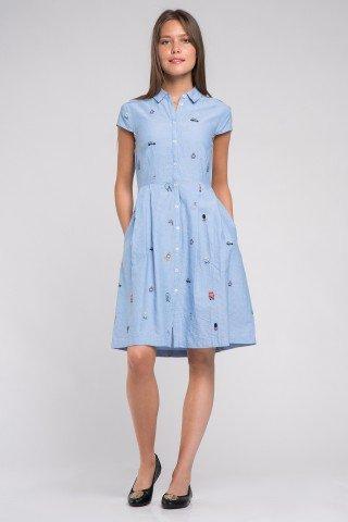 Rochie camasa din bumbac bleu cu broderie London