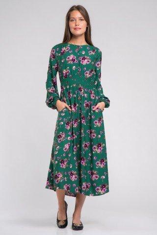 Rochie eleganta verde cu imprimeu floral My Love