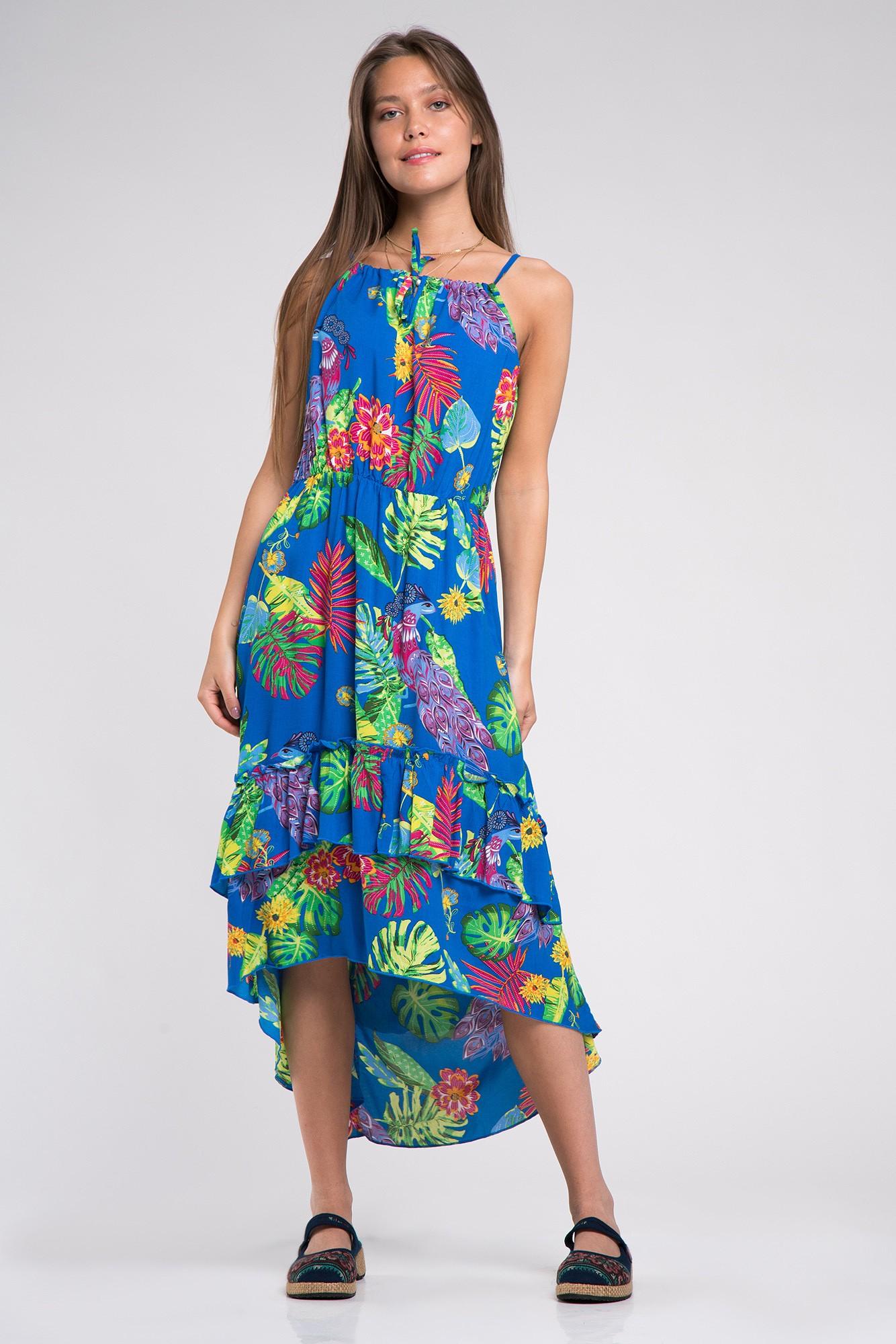 Rochie asimetrica albastra cu volane si imprimeu exotic