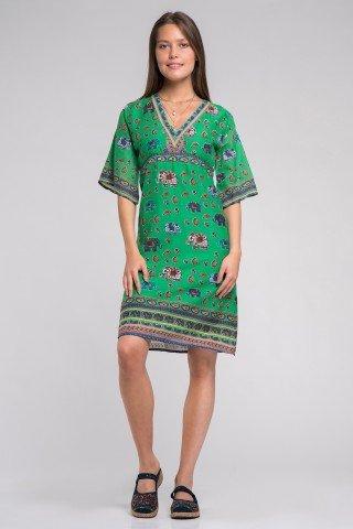 Rochie verde cu elefanti multicolori si ciucuri