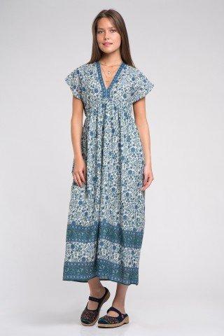 Rochie lunga cu imprimeu floral si elastic in talie