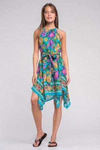 Rochie asimetrica multicolora din bumbac cu cordon