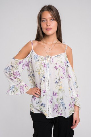 Bluza cu imprimeu floral si umeri decupati
