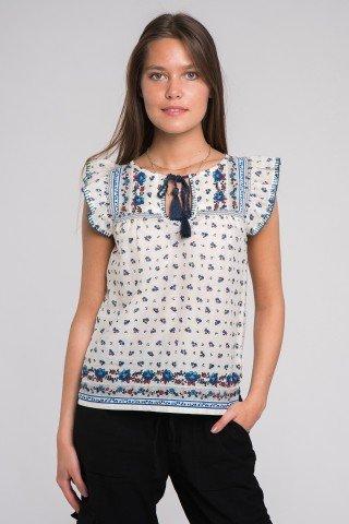 Bluza bumbac cu imprimeu si ciucuri Happy Hippie