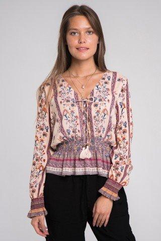 Bluza cu imprimeu floral elastic in talie si volan