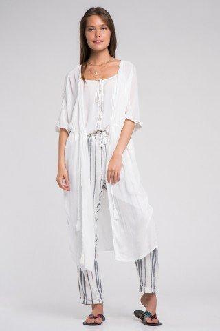 Kimono alb bumbac snur cu ciucuri in talie