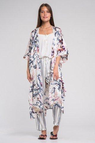 Kimono vaporos cu imprimeu floral multicolor