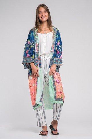 Kimono vaporos cu imprimeu mixt multicolor