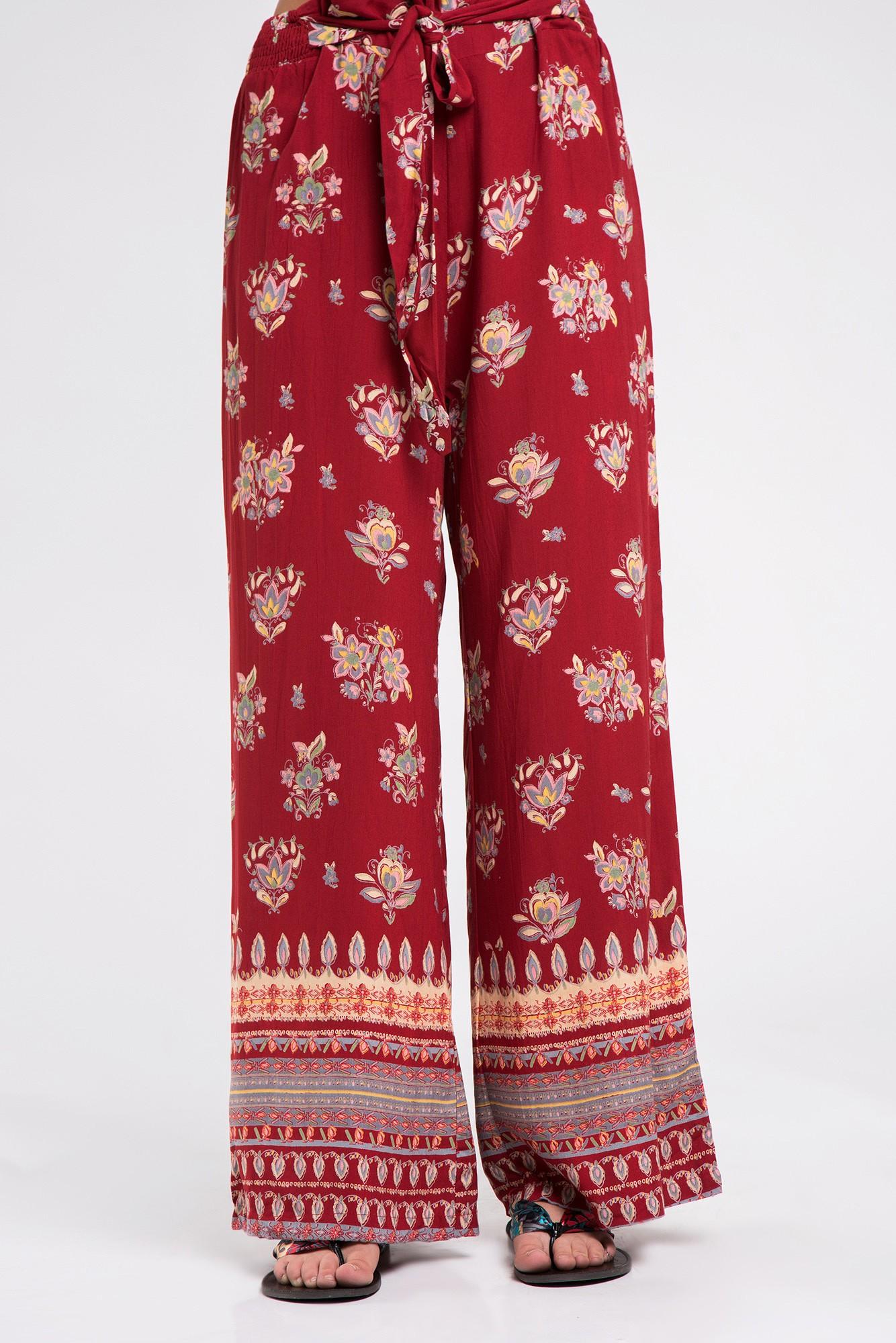 Pantaloni boho grena cu imprimeu floral