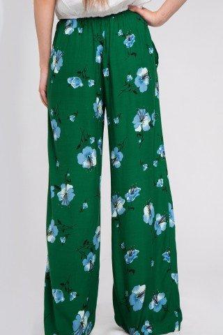 Pantaloni boho verzi cu flori si cordon