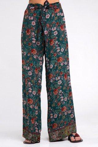 Pantaloni boho cu imprimeu floral multicolor