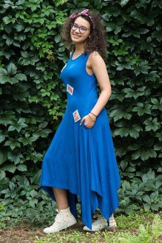 Rochie albastra asimetrica din bumbac cu aplcatii etnice