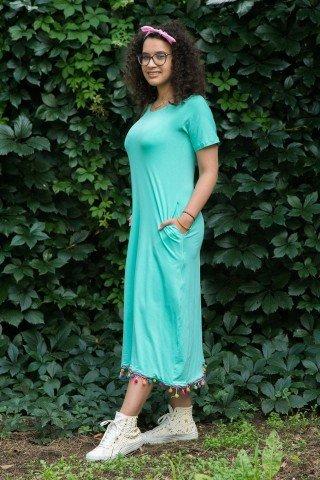 Rochie verde menta cu ciucuri aplicati